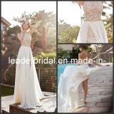Robe de mariage Backless de mariée de pays de plage de lacet de fente de côté de robe de soirée de Julie S016