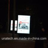 Visualización posterior cerrada de interior al aire libre del rectángulo ligero del aluminio LED de la flexión de los media de publicidad de las paradas de la parada de omnibus