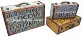 S/3 de Antieke Wijnoogst van de Decoratie aan de Doos van de Koffer van de Opslag van de Druk Pu Leather/MDF van het Ontwerp van het Strand Houten