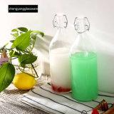 Frasco de leite do frasco de vidro com o frasco do armazenamento do suco do recipiente de bebida dos produtos vidreiros da tampa do selo
