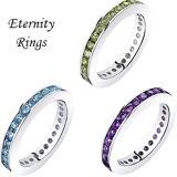 Monili mezzi dell'argento sterlina della fascia 925 dell'anello di diamante di riga