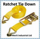 Il cricco lega giù il carico dell'imbracatura 50mm della cinghia che frusta la cinghia