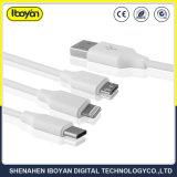 3 em 1 Fio do carregador de dados USB Cabo de telefone móvel
