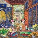 Tela di canapa del cotone di arte di Giclee di alta qualità/ragazze domestiche basse di seta della pittura della decorazione 50*50cm Bmcp01015
