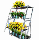 Multi Layers Metal Rolling Flower Shelf Cart Plant Trolley