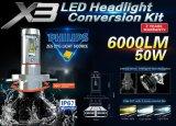 X3 LEIDENE van Philips Lichte Auto Lichte LEIDENE van de Auto Koplamp H4 6000lm