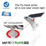 productos integrados solares del jardín de la luz de calle del poder más elevado 15W LED con la batería de litio