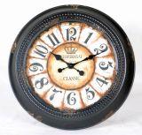 Crema redonda y decoración negra del arte del reloj de pared del metal