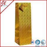 Luxuriöses Gold verstärkte Geschenk-Wein-Flaschen-Papiertüten mit Griff und Marke
