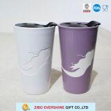 tasse en céramique de la course 350ml avec le couvercle en plastique