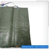 Sacs en sable tissés en plastique vert foncé