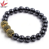 Htb-008 10mm Hematite Black com 3 Big CZ Ball Gold Color Bracelet
