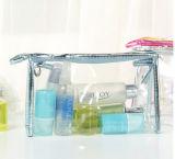 Saco impermeável transparente do cosmético do saco do armazenamento do saco de embreagem dos jogos do arti'culo de tocador do PVC
