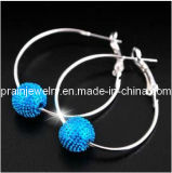 Chapado en plata y cristal azul Colgante forma de bola de la primavera de bisutería de aleación 2013 Aretes aretes de cristal pendientes de moda Accesorios de moda(PE-010