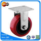 Rueda resistente fija del echador del poliuretano del rodamiento de rodillos de la placa 5inch