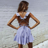 여름 최신유행 V 목 줄무늬 섹시한 형식 Lace-up 여자 복장