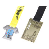 リボンのスポーツメダルハンガーが付いているロゴによって印刷される記念品メダル