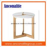 침실을%s 바퀴에 대나무 둥근 2층 커피용 탁자 작은 테이블