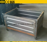 Foldableスタック可能金属の大きさパレット容器、波形の版パレットケージ
