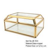Comercio al por mayor forma cuadrada cristal decorativo Joyero para regalo de bodas romántica