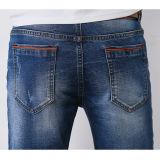 人(HDMJ0015-17)のための特別なデザインの美しく青い壊された洗浄のジーンズ