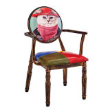 Stahlrohr-Stuhl mit dem Tablette-Arm