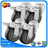 100mm graues PU-Einkaufswagen-Fußrollen-Rad mit Bremse