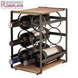 Het Metaal van de douane en de Houten Rekken van de Vertoning van de Flessen van de Wisky of van de Wijn van het Embleem Laser Duidelijke
