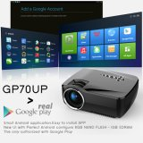 Gp70up Android mini proyector de LED con Google Play actualizado por gp70 Proyector portátil