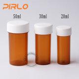 frasco plástico do comprimido da medicina da cor ambarina de 20ml 30ml 50ml com tampão de parafuso