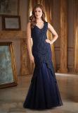 Отбортовывать мантию вечера сини военно-морского флота платья мати Mermaid повелительниц шнурка