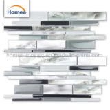 Mosaïque en aluminium gris-clair en verre de salle de bains de bande de mur de configurations de luxe de tuile