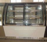 케이크 전시를 위한 구부려진 모양 강화 유리 진열장을 냉각하는 고속