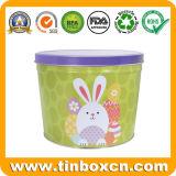 Poder de estaño redonda de encargo del huevo de Pascua para el almacenaje del caramelo de chocolate