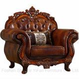Canapé en cuir avec table en bois Meubles de salle de séjour (619)