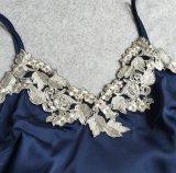 Pijamas de la seda de la calidad del V-Cuello atractivo de las mujeres del verano los mejores