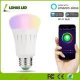 A19/A60 9W E27 Lampe de feu Smart Tuya APP contrôlée de changement de couleur pour l'ampoule Decoraiton WiFi