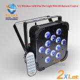 DMX 단계 빛 12LEDs 18W 6in1 Rgbaw 원격 제어를 가진 UV LED 호리호리한 동위 빛 무선 LED PAR64를 위한 Rasha 공장 가격