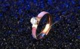 Rhinestone Elegante anillo de bodas de oro rosa para las Mujeres Los hombres de zirconio cúbico Anillos Joyas Anel Feminino Bijoux