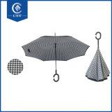 Верхнее качество подгоняло логос напечатанный внутри зонтика 23 дюймов реверзибельного перевернутого
