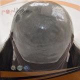 As rendas de cabelo virgem frente peruca preta (PPG-L-0989)