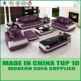 Sofà sezionale di legno del cuoio genuino della mobilia del salone