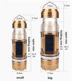 2018 Mise au point manuelle populaire solaire/DC double charge de couleur pêche LED lanternes de camping lampe de poche