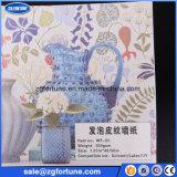 Documento di parete moderno di schiumatura poco costoso del reticolo di cuoio del fornitore della Cina, materiale della carta da parati per la stampa del getto di inchiostro