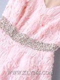 China-Großhandelsfrauen-Dame-Form, die Satin-Spitze-Hochzeitsfest-Kleid bördelt