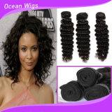 Pacotes peruanos profundamente Curly humanos superiores do cabelo do cabelo do Virgin da qualidade 100%