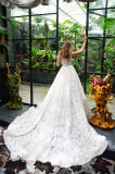 Amelie felsiges Elfenbein 2018 eine Zeile reizvolles Spitze-Hochzeits-Kleid