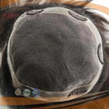 사람의 모발 가득 차있는 Handtied 머리 피스 Toupee (PPG-l-0177)