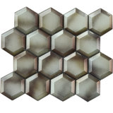 De moderne Tegel van het Mozaïek van het Glas van de Kleur van de Koffie van de Stijl Hexagon Keuken Afgeschuinde