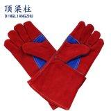 Красная перчатка работы безопасности перчатки ладони двойника Split кожи коровы с линией пожара